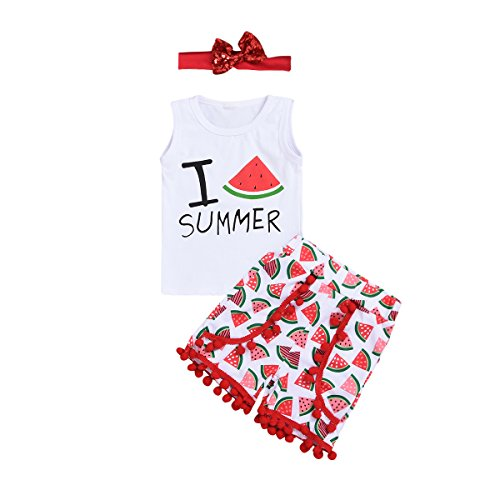 (Toddler Baby Girls Summer Outfit Sleeveless T-Shirt Letter Print Vest Tops+ Tassel Watermelon Shorts Clothes Set (White, 2-3)