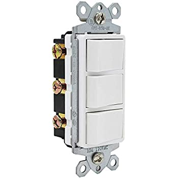 ESD Tech 15 Amp Triple Rocker Switch, Single-Pole 120V AC Decorator Combination, Three Paddles for Lights, Fans, Heaters, Garbage Disposal