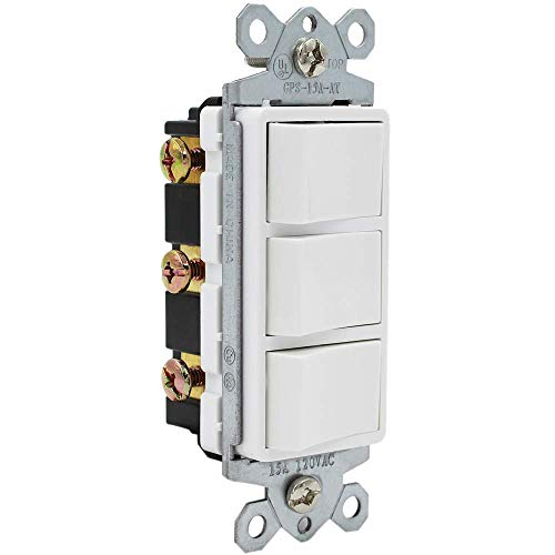 ESD Tech 15 Amp Triple Rocker Switch, Single-Pole 120V AC Decorator Combination, Three Paddles for Lights, Fans, Heaters, Garbage Disposal. Grounding, White, Residential/Commercial Grade, UL Listed