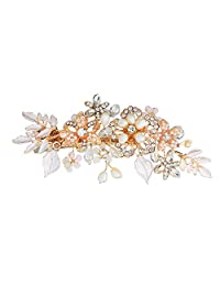 Aokarry Matel Flower Leaves Jeweled Hair Clips for Ladies, Brides Or Bridesmaid Gold