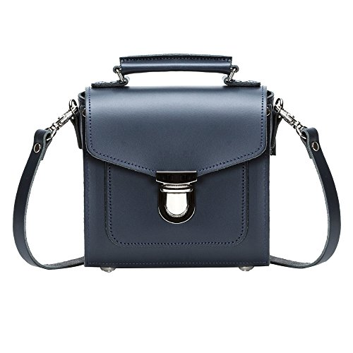 Zatchels Sugarcube - Borsa in Pelle Fatta a Mano (British Made) - Donna Blu navy