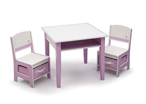 Child Craft Furniture (Delta Children Jack & Jill Storage Table & Chair Set, Pink/White)