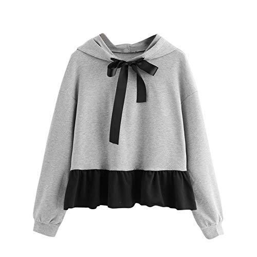 (Womens Casual Ruffles Long Sleeve Hoodie Sweatshirt Jumper Hooded Shirt Pullover Cute Bow Sweater)