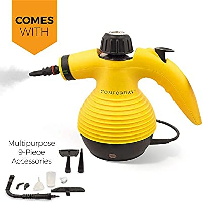 Comforday Surface & Much Multi-Purpose Handheld Pressurized Steam Cleaner with 9 Piece Accessories for Stain Removal, Carpets, Curtains, Car Seats, ...