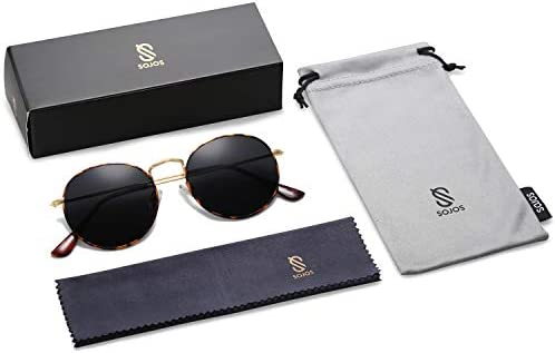 SOJOS Small Round Polarized Sunglasses for Women Men Classic Vintage Retro Frame UV Protection SJ1014