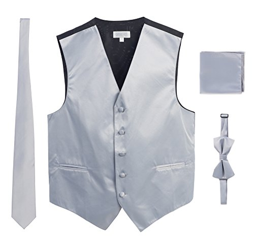 Men's Formal 4pc Satin Vest Necktie Bowtie and Pocket Square, Silver, 2X Large