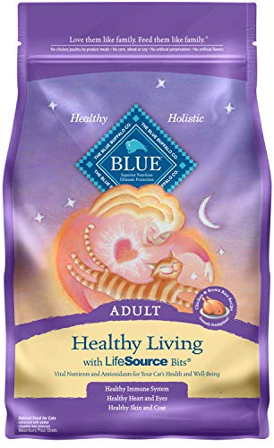 - Blue Buffalo Healthy Living Natural Adult Dry Cat Food, Chicken & Brown Rice 7-lb