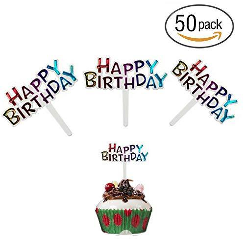 Colourful Mini Plastic Happy Birthday Cupcake Cake Toppers