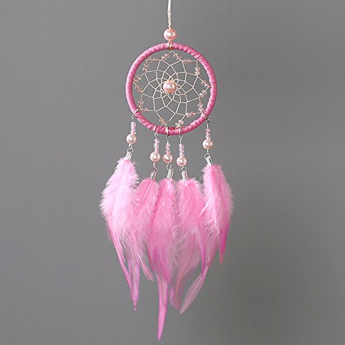 Per Mini Handmade Dream Catchers Wind Chimes Dreamcatcher Net Hanging Decoration Ornament For Room Car (2.713.54in)-Pink by Per (Image #3)