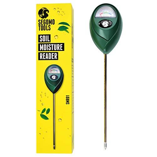 Segomo Tools Soil Moisture Hygrometer Sensor & Reader (for Gardening, Plants, Lawns, Farms) - SMR01