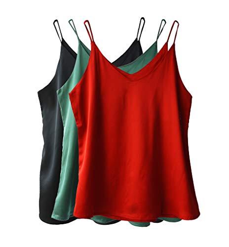 Wantschun Womens Silk Satin Camisole Cami Plain Strappy Vest Top T-Shirt Blouse Tank Shirt V-Neck Spaghetti Strap US Size L;Red+Green+Black (Womens Silk Tops)