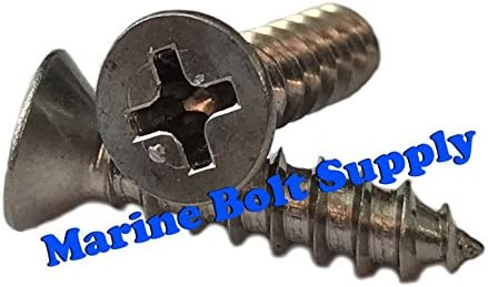 Type 316 Stainless Steel Phillips Drive Flat Head Sheet Metal Screw Kit Marine Bolt Supply 6-111906