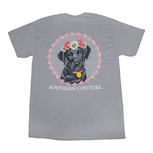 Southern Couture SC Classic Flower Lab Classic Fit Adult T-Shirt - Gravel, X-Large ()