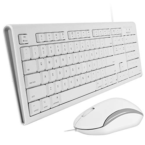 Macally Full Size USB Wired Keyboard & Mouse Combo for Mac Mini Pro, iMac Desktop Computer, MacBook Pro Air Laptops | Mac Compatible Apple Shortcuts, Extended with Number Keypad, Rubber Dome Keycaps