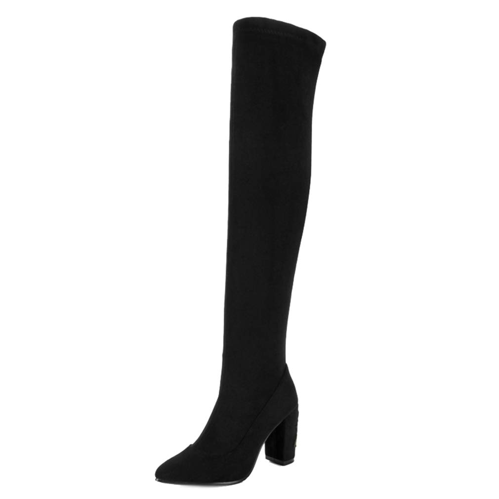Matt Black T-JULY Women's Embroider Long Boots with Point Toe Chunky Slip-on Short Plush Over-The-Knee Boots Fashion Sexy shoes Plus Size