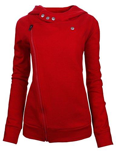 Tom's Ware Women Slim fit Zip-up Hoodie Jacket TWHD1003-RED-S