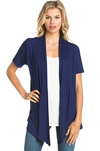 12 Ami Basic Solid Short Sleeve Open Front Cardigan Navy Medium