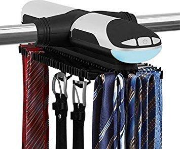 KOVOT 72 Hook Motorized Tie Rack and Belt Rack with Built in LED Lighting KO-139
