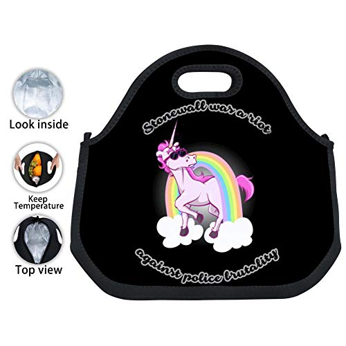 CICICCO Stonewall Was a Riot Unicorn Work Office Picnic Travel Lunch Bags Waterproof Durable Insulated Lunch Tote Boxes