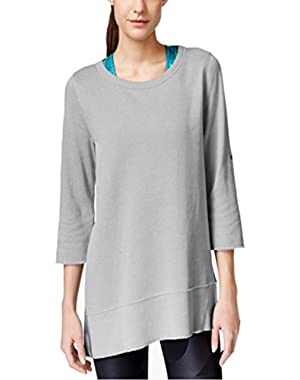 Calvin Klein Performance Three-Quarter Sleeve Top Charcoal Small