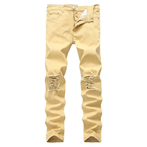 PrettyChic Men's Ripped Jeans Vintage Fitted Stretchy Tapered Leg Destroyed Jeans, Khaki, Tag Size 38=US Size 40