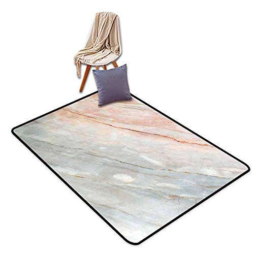 - Room Bedroom Floor Rug Marble Onyx Stone Textured Natural Featured Authentic Scratches Artful Illustration Hard and wear Resistant W63 xL90.5 Peach Pale Grey