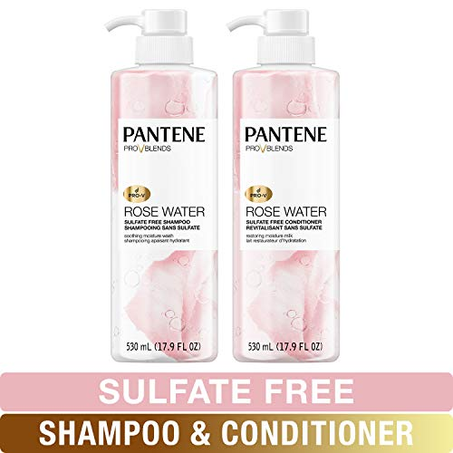 - Pantene, Shampoo and Sulfate Free Conditioner Kit, Paraben and Dye Free, Pro-V Blends, Soothing Rose Water, 17.9 fl oz, Twin Pack
