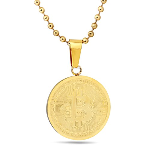 Bitcoin Necklace 24 Inch Chain Gold Plated Stainless Steel Pendant Necklace For Men And Women   Collectible Currency