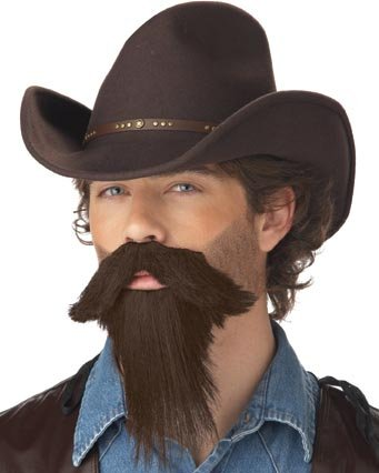 California Costumes Men's The Rustler Full Goatee,Brown,One Size Costume (Halloween Facial Hair)
