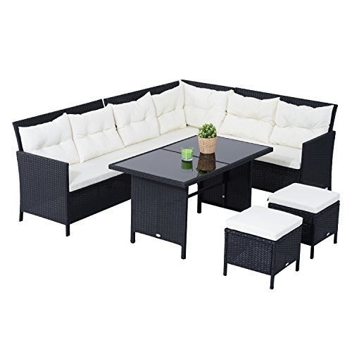 Outsunny 6pcs Outdoor Rattan Sofa Set Garden Wicker Sectional Couch Patio Furniture Set 8 Seats Dining Table and Chair Cushion