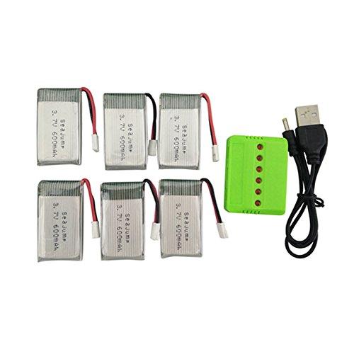 RaiFu  ドローン バッテリー  充電器 MJX X708 X708W UDI U45 U45W U42 U42W クアドコプター スペアパーツ 1つの充電器と リチウム電池 6PCS 3.7V 600mah