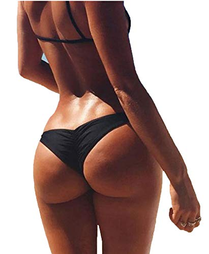 3-5 Days Delivery Sexy Lady Brazilian V-Style Ruched Ruffle Cheeky Bikini Bottom Thong Black