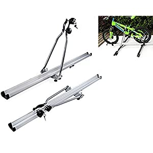 """2Pcs 53"""" Inch Aluminum Upright Car Roof Top Rooftop Bike Bicycle Rack Carrier SUV Van"""