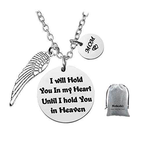 Mom Memorial Jewelry Necklace Angel Wing-I Will Hold You in My Heart Until I Hold You in Heaven,Loss of Loved One, Condolence - Charm Heart 1 Mom