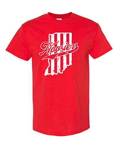 Indiana Hoosiers State Map Men's T-Shirt - Med Red (ATA1043)