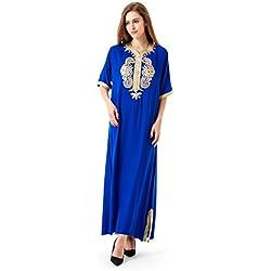 Muslim abaya caftan dubai dress for women Islamic clothing rayon gown jalabiyas, Blue, Large