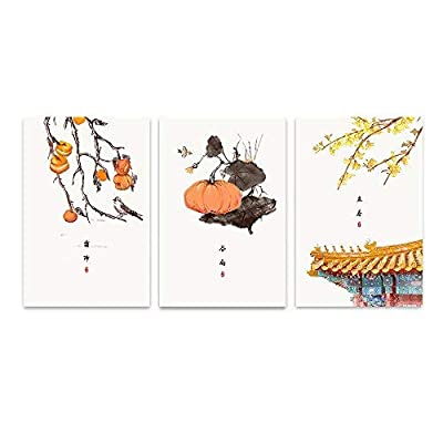 Stunning Expert Craftsmanship, 3 Panel Frost Descent Start Spring Grain Rain Chinese Ink Paint Style 24 Solar Terms Series x 3 Panels, Classic Artwork