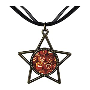 Chicforest Bronze Retro Style Jack O Lanterns Five Pointed Star Pendant