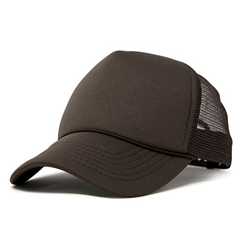 DALIX Mens Blank Trucker Cap Mesh Hats Brown