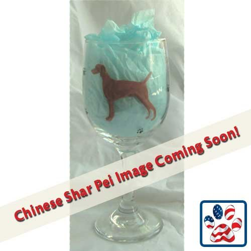 (Showstopper Jewelry Standing Dog Wine Glass Chinese Shar)