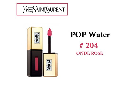 YSL - Yves Saint Laurent Rouge Pur Couture Vernis A Levres Pop Water Lip Gloss Glossy Stain for Women # 204 Onde Rose 0.2 Ounce ()