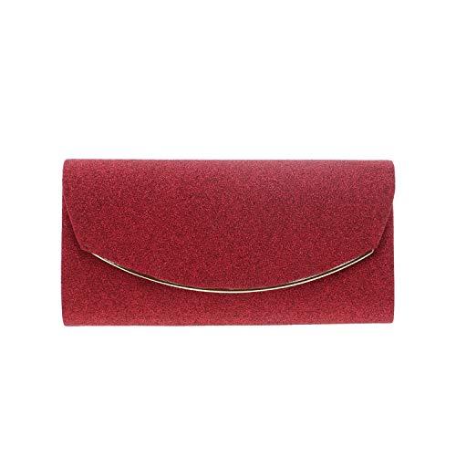 Clutch Handbag Sparkle Satin With Metal Rim Evening Bag