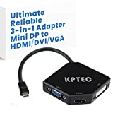 KPTEC Ultimate 3-in-1 Mini DP (Thunderbolt) to 4K UHD HDMI, DVI, VGA Adapter, Compact 1080p Mini Display (mDP) Converter for Macbook Air, Macbook Pro, iMac, iMac Mini, Surface Pro Series, Glossy Black