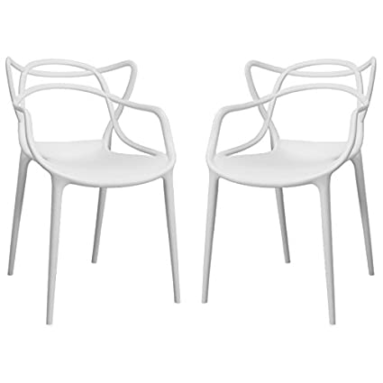 Mod Made Mid Century Modern Molded Plastic Loop Chair (Set Of 2), White