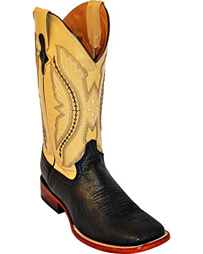 Quill Square (Ferrini Men's Smooth Quill Ostrich Exotic Boot Square Toe Black 9 EE US)