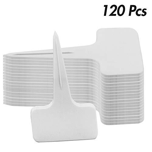 Glory Island 120 Pcs Plant Labels T-Type Tags, Plastic Garden Labels Nursery Tags, 6 x 10 cm (White)