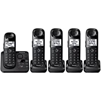 Panasonic KX-TGL433B / KX-TG3683B plus two KX-TGLA40B Dect 6.0 5-Handset Landline Telephone, Black (Certified Refurbished) (KX-TGL432B +3)