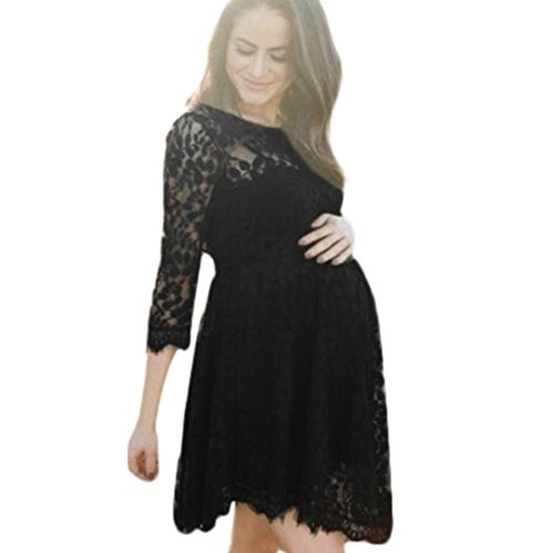 Clothing Maternity Dress, Women Pregnant Sexy Lace Sheer Round Neck Dress Floral Wrap Long Sundress (Free, Black) ()