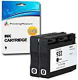 Printing Pleasure 2 BLACK Compatible Printer Ink Cartridges for HP Officejet 6100, 6600, 6700, 7110, 7600, 7610, 7612 | Replacement for HP 932XL CN053AE