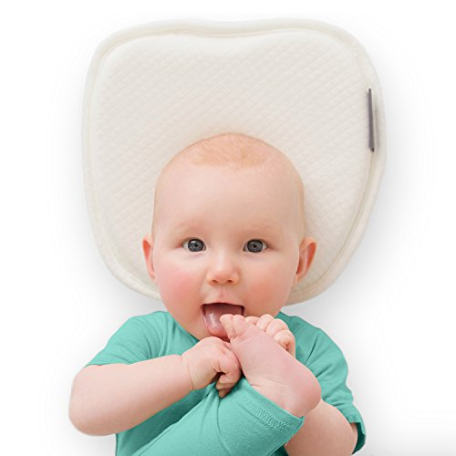 Flat Head Baby Pillow with 2 White Washable Cotton Covers - Safe Baby Head Shaping Pillow with Neck Support for Newborn and Infant - Soft Memory Foam